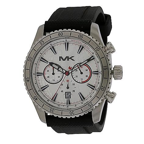 fbc71ca828e4 667-771- Michael Kors Men s 45mm Richardson Quartz Black Rubber Strap Watch