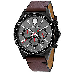 Ferrari Scuderia Men s 45mm Pilota Quartz Silver-tone Dial Brown Leather  Strap Watch 327de989a96