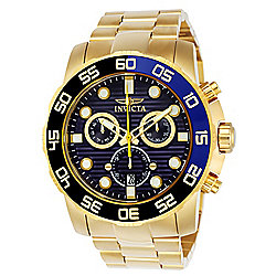Invicta Men's 50mm Pro Diver Quartz Chronograph Gold-tone Stainless Steel Bracelet Watch