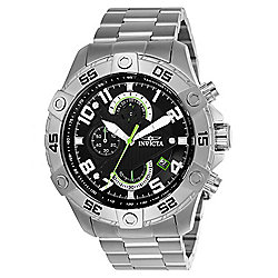 Invicta Men's 48mm S1 Rally Quartz Chronograph Black Dial Silver-tone Stainless Steel Bracelet Watch