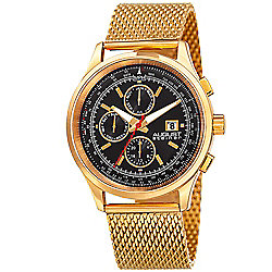 August Steiner Men's 42mm Quartz Gold-tone Stainless Steel Mesh Bracelet Watch