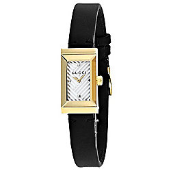 a60dfa61104 Gucci Women s G-Frame Rectangular Swiss Made Quartz Black Leather Strap  Watch