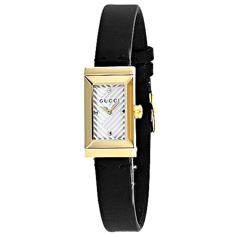 bde9abed8 668-892- Gucci Women's G-Frame Rectangular Swiss Made Quartz Black Leather  Strap