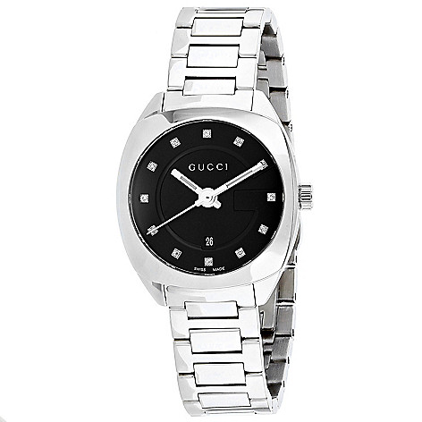 3de1f3ddb98 668-948- Gucci Women s GG2570 Swiss Made Quartz Date Black Dial Stainless  Steel Bracelet