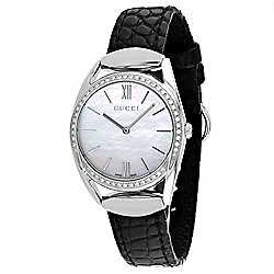 34de7fe7de7 Gucci Women s Horsebit Swiss Made Quartz Diamond Accented Mother-of-Pearl  Dial Leather Strap