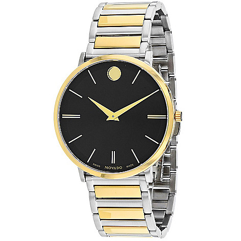 0276f74b18c 669-001- Movado Men s 40mm Ultra Slim Swiss Made Quartz Black Dial Two-