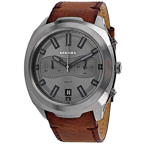 a12c7a20c42d 669-035- Diesel Men s 46mm Tumbler Quartz Chronograph Leather Strap Watch
