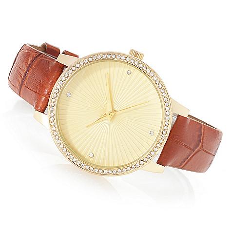 Croton Women S Manhattan Quartz Crystal Accented Strap Watch Evine