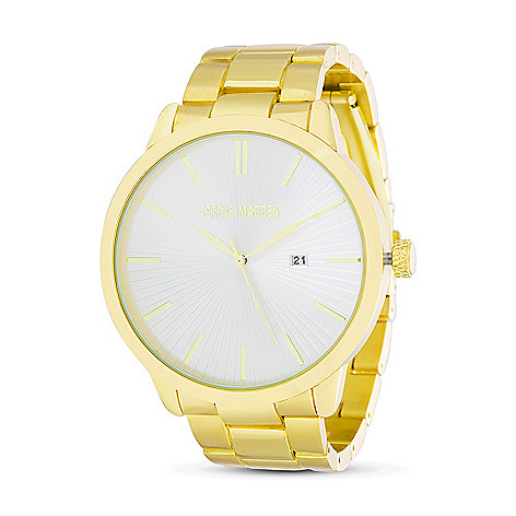 2bbe785bf3a 669-505- Steve Madden Men s 48mm Quartz Date White Dial Alloy Bracelet Watch