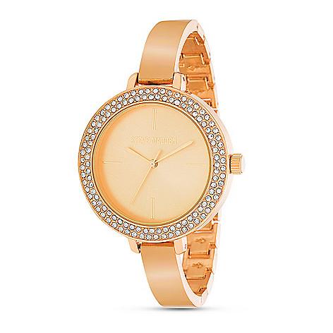 6a7a817afda 669-518- Steve Madden Women s Quartz Rhinestone Slim Alloy Bracelet Watch