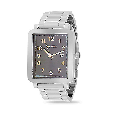 6d5981f2a67 669-537- Steve Madden Men s Rectangular Quartz Date Alloy Bracelet Watch