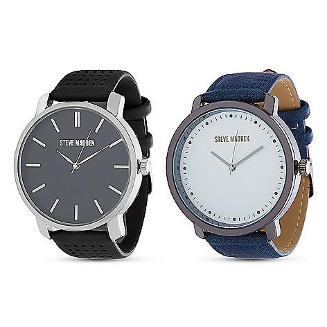 43a121bec16 Steve Madden Set of 2 Men s 47mm Quartz Black   Blue Strap Watches ...