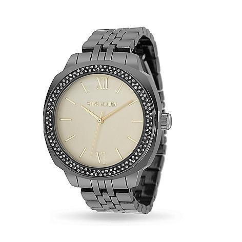 6c7c1ceca1c 669-550- Steve Madden Women s Quartz Rhinestone Yellow Dial Alloy Bracelet  Watch