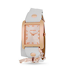 Steve Madden Women's Rectangle Quartz White Polyurethane Strap Watch w/ Charms