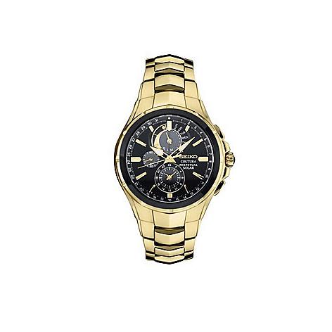 Seiko Perpetual Calendar.Seiko Coutura Men S 44mm Solar Quartz Perpetual Calendar Stainless Steel Bracelet Watch