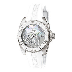 01f2d5a4b Invicta Women's Angel Quartz Crystal Accented Mother-of-Pearl Dial White  Silicone Strap Watch