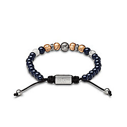 Original Grain New York Yankees Stainless Steel, Wood & Howlite Bead Adjustable Macrame Bracelet