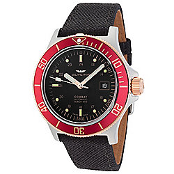 Glycine Men's 42mm Combat Sub Swiss Made Automatic Date Black Fabric Strap Watch