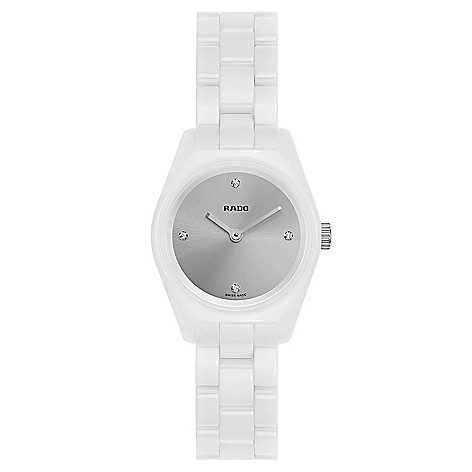 74f28d005 670-437- Rado Women's Swiss Made Quartz Diamond Accented White Ceramic Watch