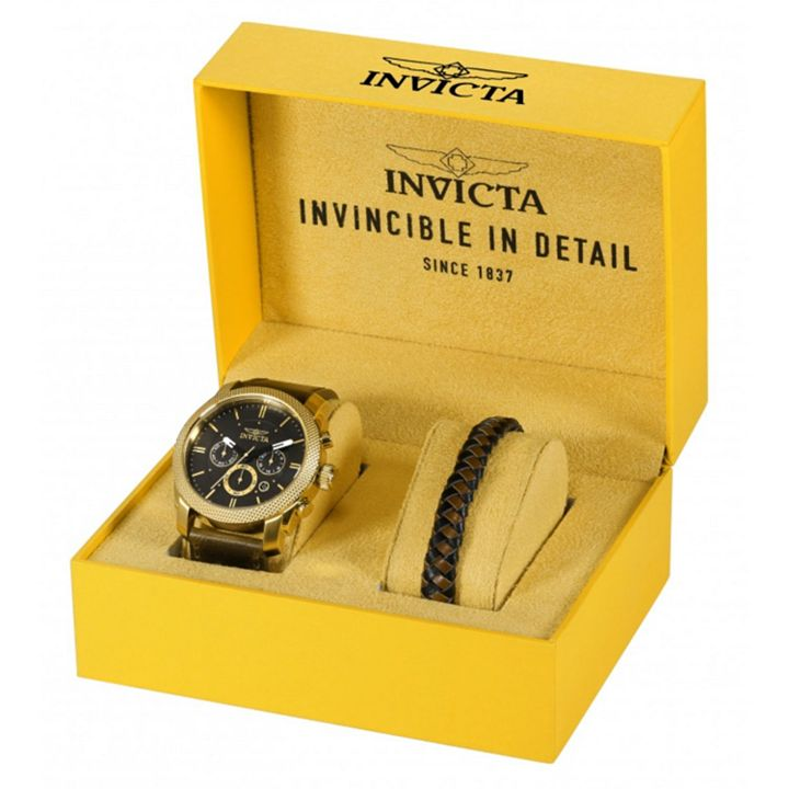 Today's Top Deal at ShopHQ | 671-621 Invicta Men's 44mm Aviator Quartz Chronograph Strap Watch w Extra Bracelet