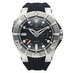 Nubeo Men's 50mm Manta Automatic Dive Date Black Dial Silicone Strap Watch