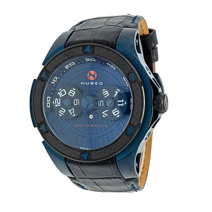Nubeo & More New Dials, Low Prices -672-006 Nubeo Men's 48mm Satellite Swiss Made Automatic Sapphire Crystal Strap Watch