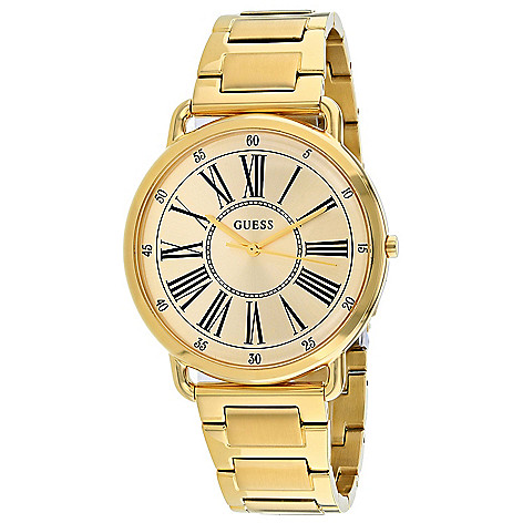 1a1ec22807 672-080- Guess Women's Quartz Gold-tone Stainless Steel Bracelet Watch