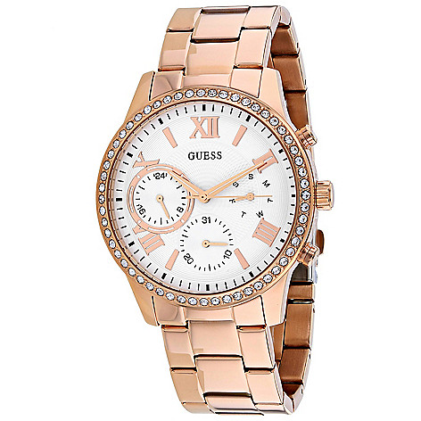3e10dd7d5 672-086- Guess Women's Quartz Crystal Accented GMT Day & Date Stainless  Steel Bracelet