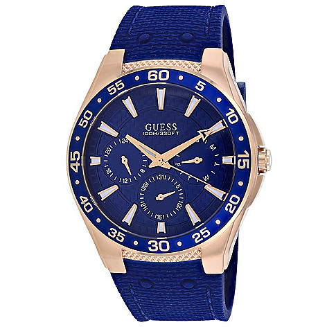 0517c3d1a 672-114- Guess Men's 43mm Quartz GMT Day & Date Blue Silicone Strap Watch