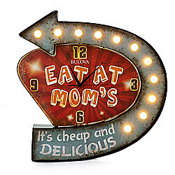 "Bulova ""Eat at Mom's"" 19"" Metal Retro Diner LED Clock"