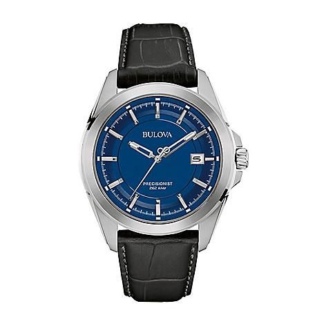 a112d0090 672-498- Bulova Men's 43mm Quartz Blue Dial Black Leather Strap Watch