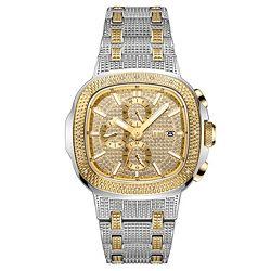 JBW Men's 47mm Square Heist Quartz Diamond Accented Multi Function Stainless Steel Bracelet Watch - 672-913