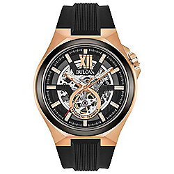 Bulova Men's 46mm Automatic Skeletonized Silicone Strap Watch