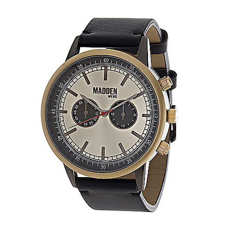 bad091bc8a7 Steve Madden Men's 45mm Contrast Quartz Chronograph Synthetic Leather Strap  Watch