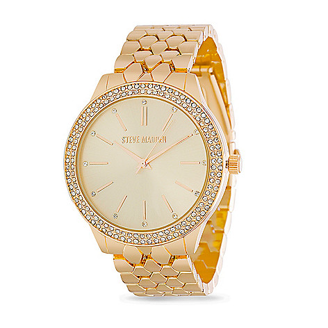 01eae41454b Steve Madden Women's Quartz Crystal Accented Bezel Gold-tone Bracelet Watch