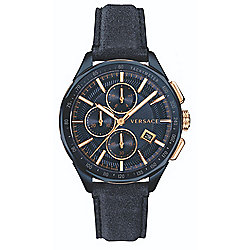 Versace 44mm Glaze Swiss Made Quartz Chronograph Leather Strap Watch