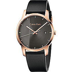 Calvin Klein Men's 43mm Swiss Made Quartz Leather Strap Watch