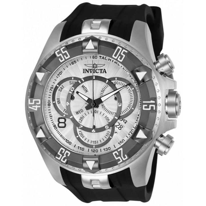As-Is Sample Sale at ShopHQ | 674-136 As Is Invicta Men's 52mm Excursion Quartz Chronograph Silicone Strap Watch