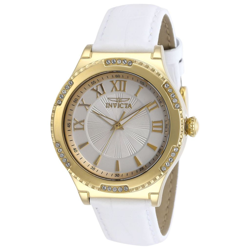 Invicta Women's Angel Quartz Crystal Accented Leather Strap Watch