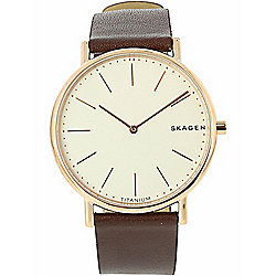 Skagen Men's 40mm Signature Slim Quartz Leather Strap Watch