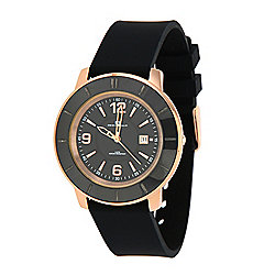 Oceanaut Women's Satin Quartz Ceramic Bezel Silicone Strap Watch