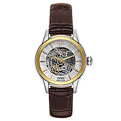Oris Women's Swiss Made Automatic Skeletonized Leather Strap Watch