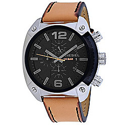 Diesel Men's 46mm Quartz Chronograph Date Black Dial Leather Strap Watch