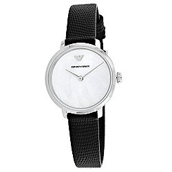 Emporio Armani Women's Quartz Silver-Tone Dial Leather Strap Watch