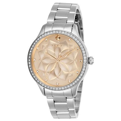 Invicta at  ShopHQ | 675-718 Invicta Women's Wildflower Quartz Crystal Accented Stainless Steel Bracelet Watch