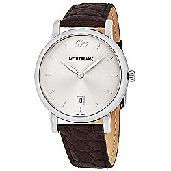 Mont Blanc Men's 38mm Swiss Made Quartz Date Display Leather Strap Watch