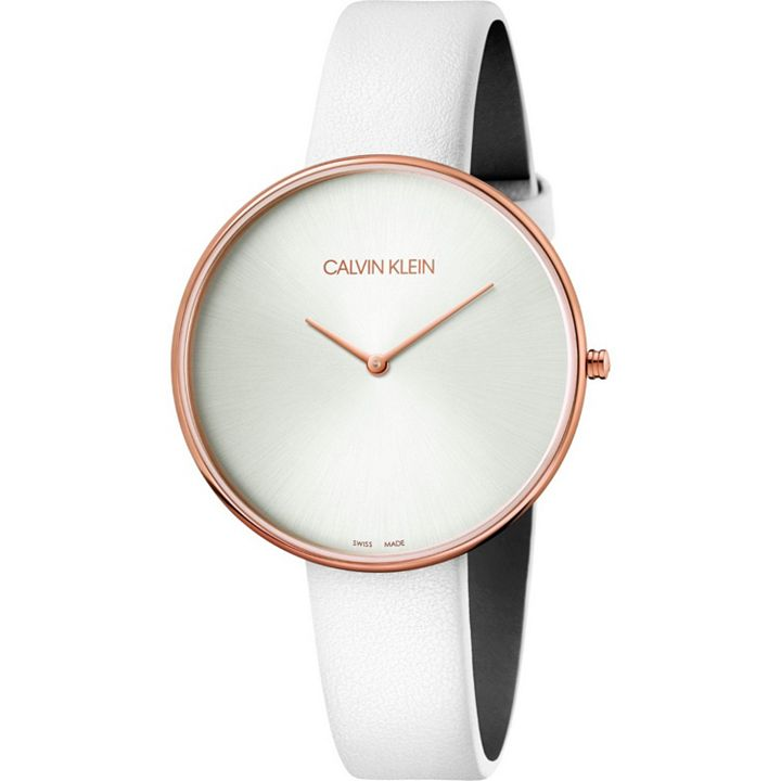 OVER 70% OFF Warehouse Wednesday Surprises and Savings Await at ShopHQ | 676-540 Calvin Klein Women's Full Moon Swiss Made Quartz Leather Strap Watch