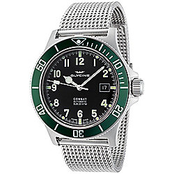 Glycine Men's 42mm Combat Sub Swiss Made Automatic Diver Date Stainless Steel Mesh Bracelet Watch