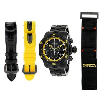 Invicta Web Exclusive Rock Bottom Prices 676-856 Invicta Reserve 54mm Venom Black Label Swiss Quartz Chrono Watch w 4-Piece Band Set & 3-Slot DC - 676-856