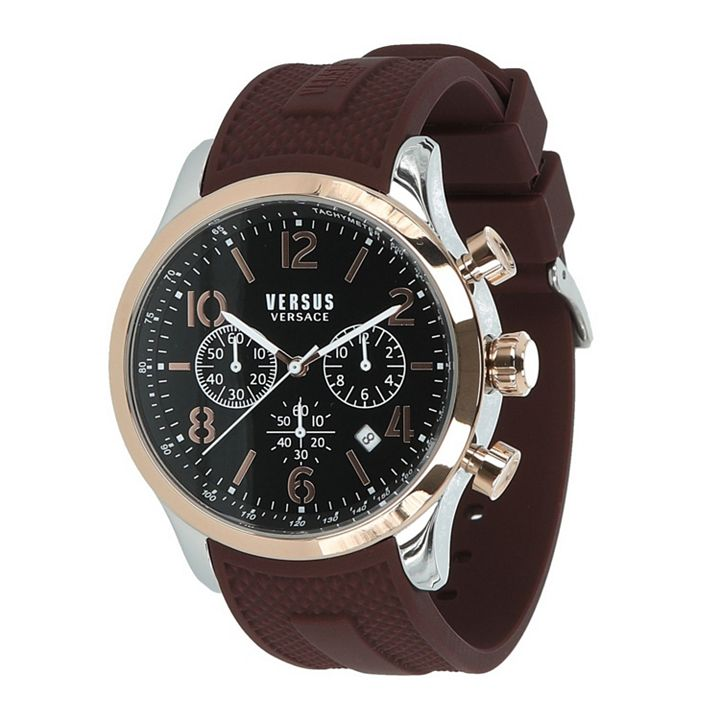 Daily Digital Deal at ShopHQ - 677-276 Versus Versace Men's 44mm Quartz Chronograph Silicone Strap Watch